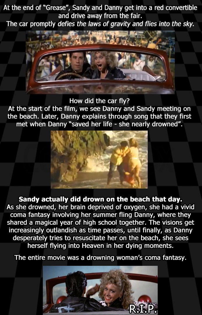 image fan theory grease Grease Fan Theory Suggests That Sandy Didn't Have a Happy Ending After All