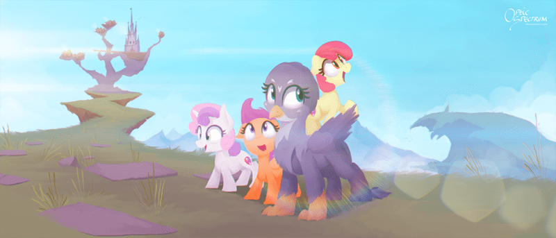 apple bloom,griffon,Scootaloo,Sweetie Belle,the fault in our cutie marks,gabby