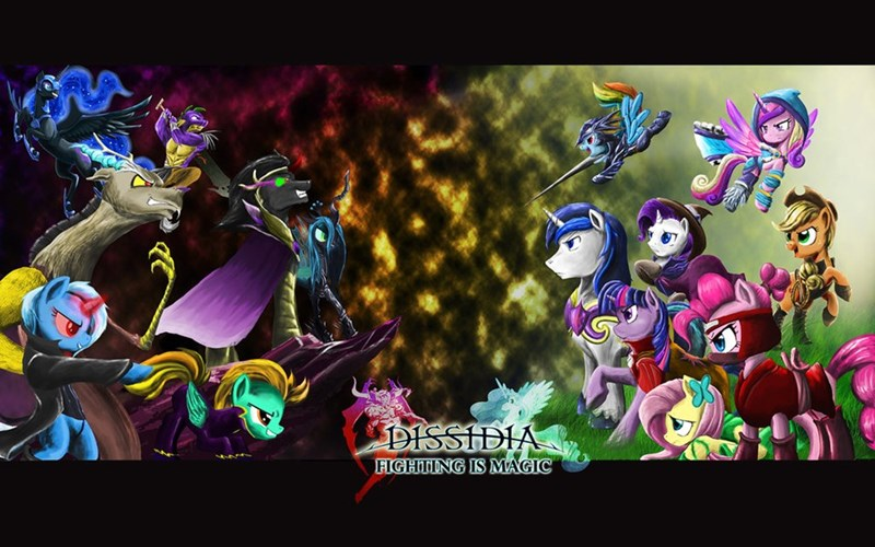 spike,sombra,applejack,the great and powerful trixie,nightmare moon,discord,final fantasy,princess cadence,lightning dust,twilight sparkle,shining armor,pinkie pie,princess luna,rarity,chrysalis,ponify,princess celestia,fluttershy,rainbow dash