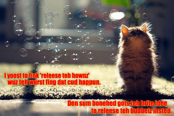 By-By bubbelz... I'z gonna missez yoo...