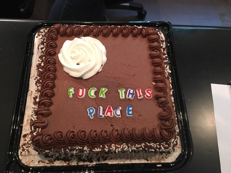 funny work image coworkers nail perfect send off cake for laid off coworker