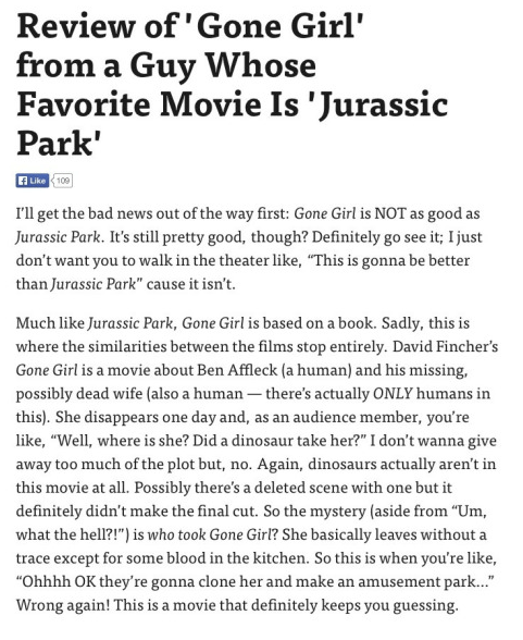 image Jurassic park reviews Spoiler: Gone Girl's Twist Is Disappointingly Devoid of Dinosaurs