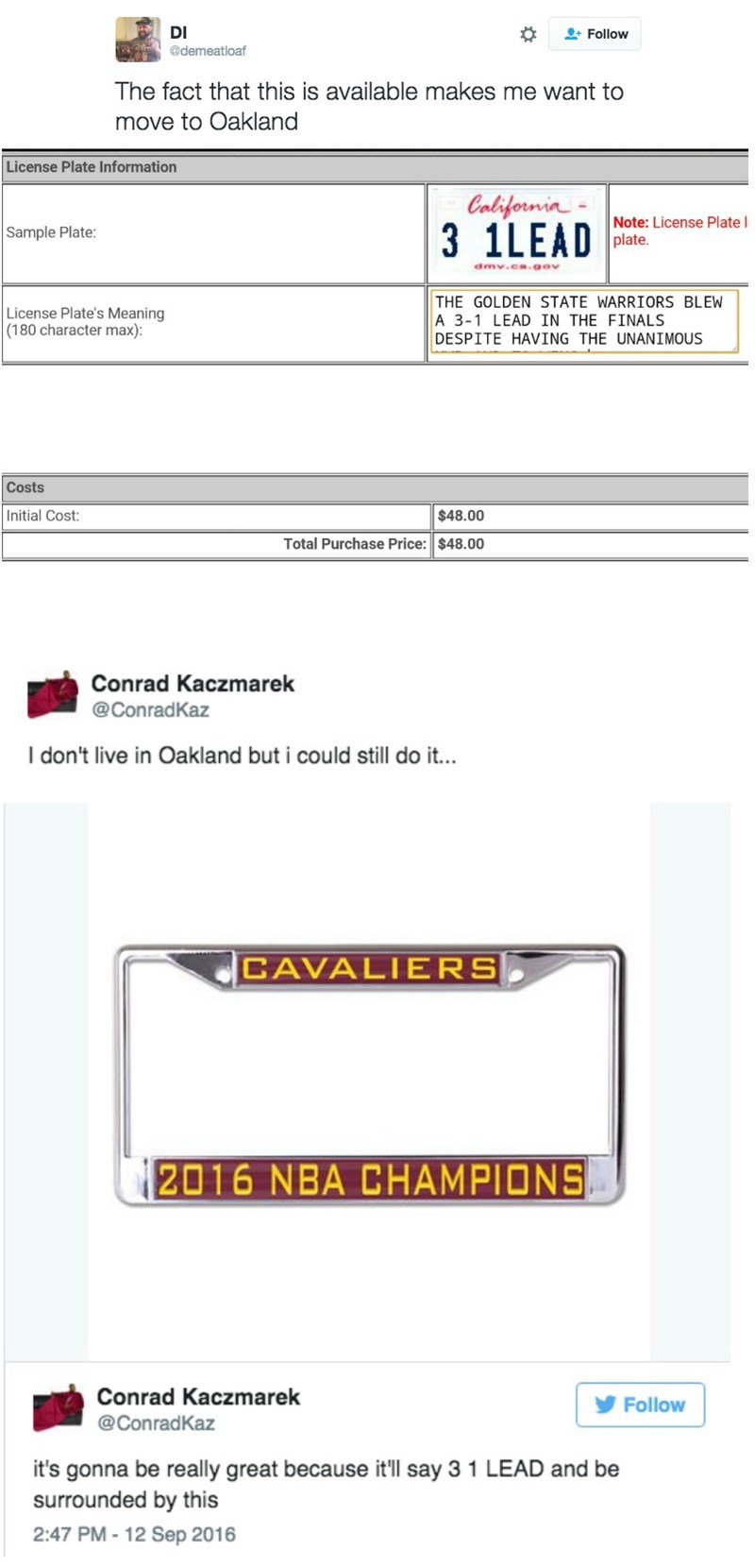 image trolling basketball A Cavaliers Fan Found the Perfect License Plate to Troll the Golden State Warriors