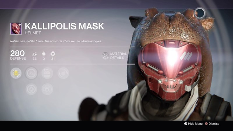 Helmet - KALLIPOLIS MASK HELMET Not the past, not the future. The present is where we should turn our eyes. 280 A MATERIAL DETAILS DEFENSE 36 31 Hide Menu O Dismiss