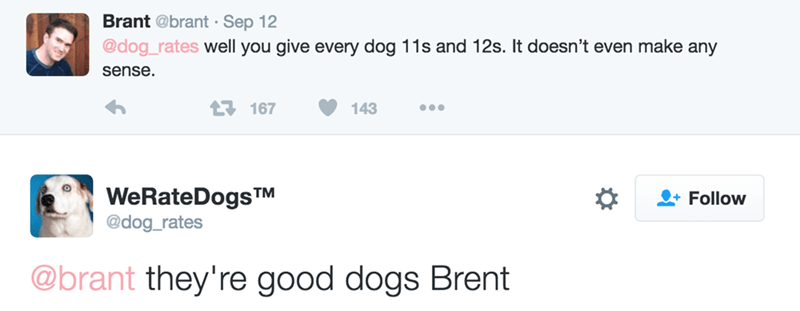 Text - Brant @brant - Sep 12 @dog_rates well you give every dog 11s and 12s. It doesn't even make any sense t167 143 WeRateDogsTM @dog_rates Follow @brant they're good dogs Brent