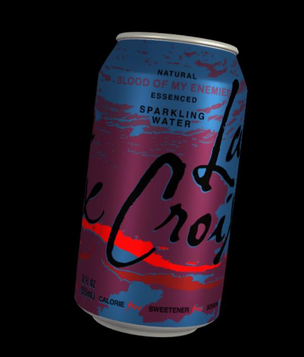 Beverage can - NATURAL BLOOD OF MY ENEMIES ESSENCED SPARKLING WATER 955mt) CALORIE SWEETENER