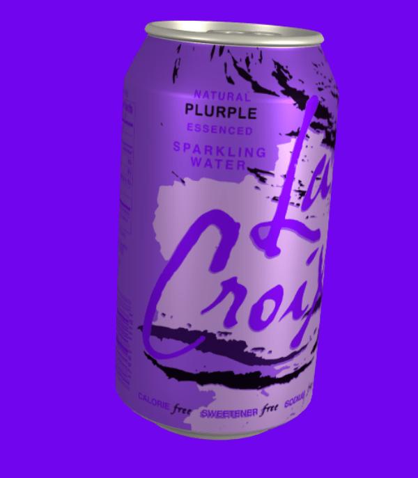 Beverage can - NATURAL PLURPLE ESSENCED SPARKLING WATER Croy CALORIE free SWEETENER frre sacuy