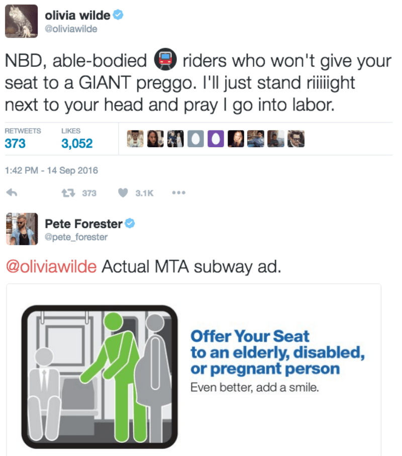 funny parenting image Pregnant Olivia Wilde sends passive aggressive tweet to rude subway riders