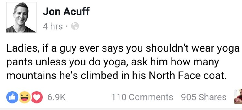 fashion facebook response the north face clothes win yoga pants