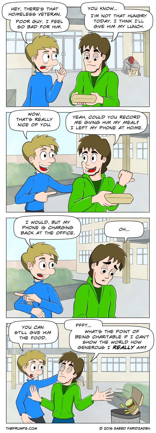 """web comic generosity narcissism Just Come Back With a Camera and $20 to Perform a """"Social Experiment"""""""