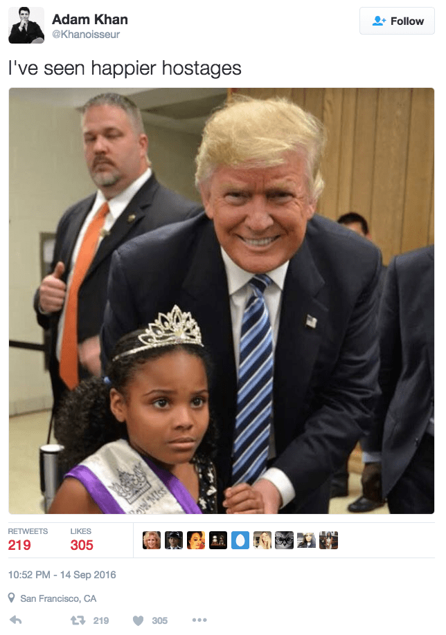 fail political image Little miss Flint takes scared PR photo with Donald Trump
