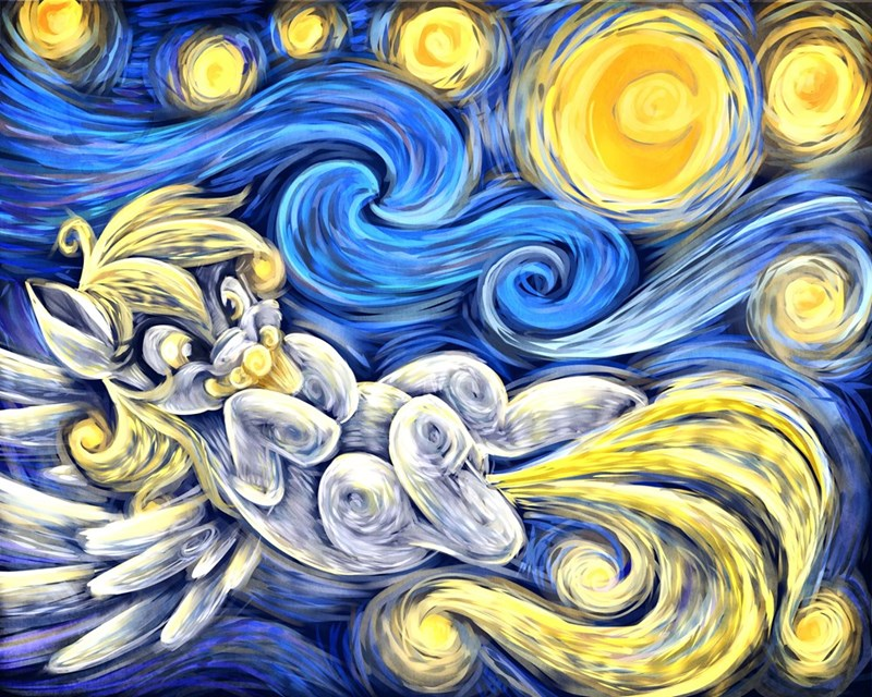 The Starry Night Van Gogh derpy hooves - 8976679424