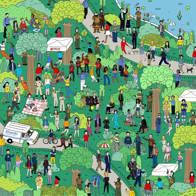 image wheres waldo netflix Can You Spot All the Characters From Popular Netflix Shows in This Where's Waldo Style Picture?