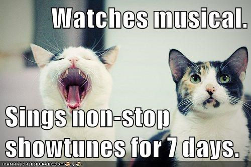 cat showtunes watches non-stop musical sings caption - 8976936192