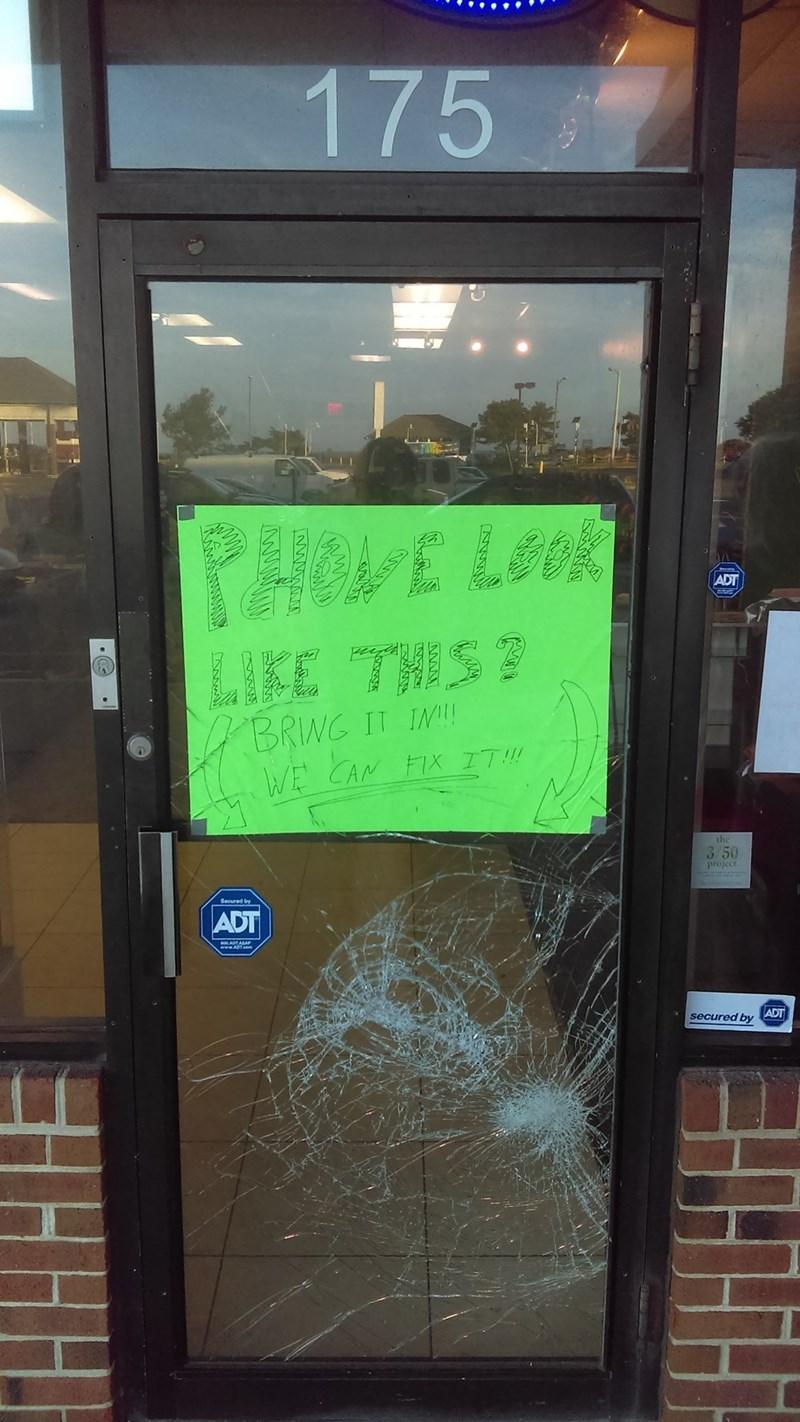 funny win sign business broken door is a clever advertisement now