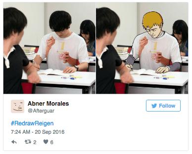 mob psycho 100 - Product - Abner Morales Follow @Afterguar #RedrawReigen 7:24 AM- 20 Sep 2016 t2 6