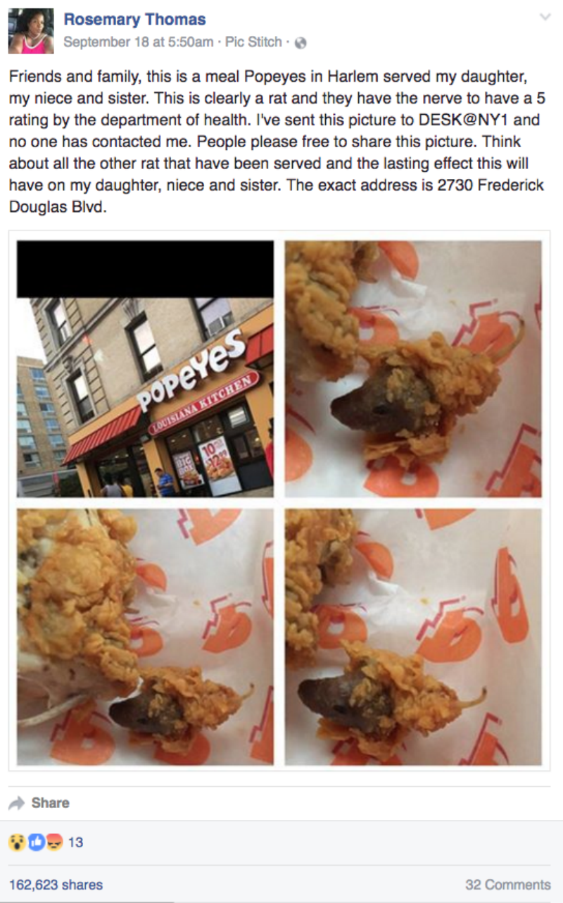 fail image family dinner ruined by Popeye's chicken fried rat head