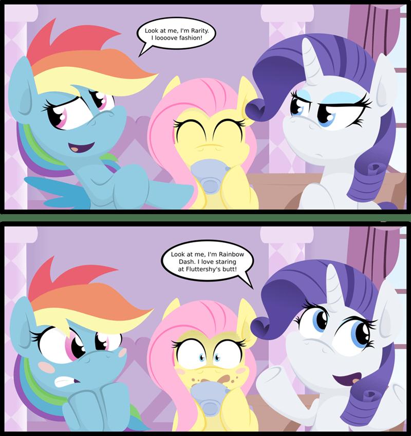 butts rarity comic fluttershy rainbow dash - 8977579264