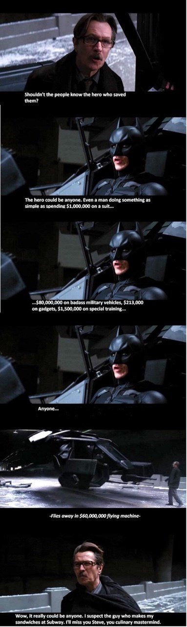 image batman captions All It Takes to Be a Hero is Money