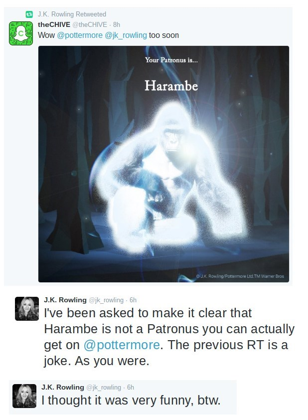 image harambe harry potter J.K. Rowling Is Forced to Point Out That Harambe Is Not a Patronus