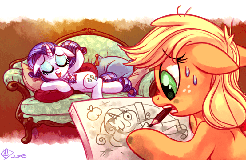 titanic,applejack,rarity,draw me like one of your french girls