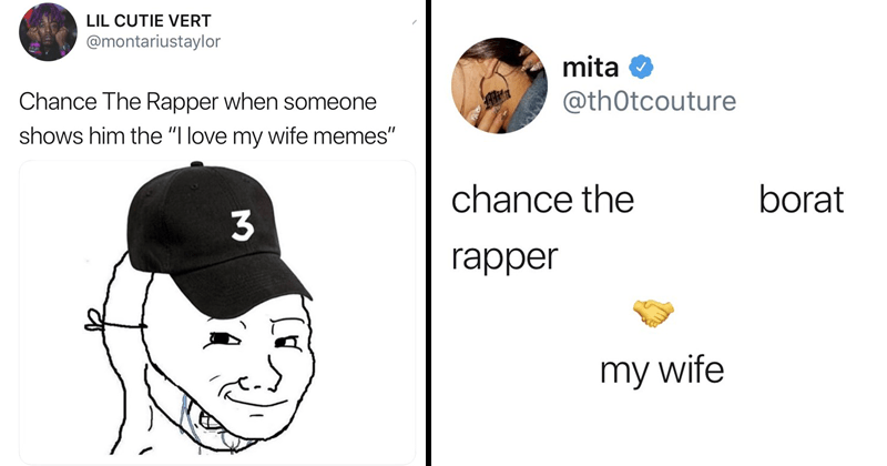 Funny tweets about how much Chance the rapper loves his wife.