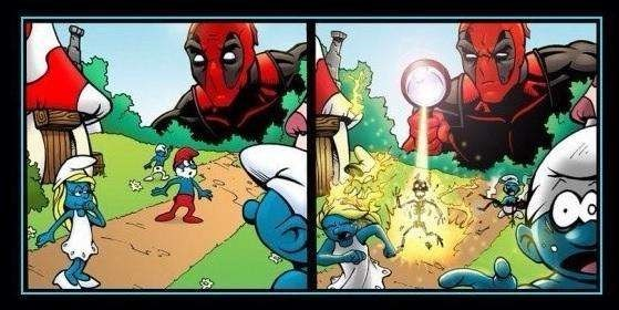 marvel-superhero-deadpool-takes-it-out-on-the-smurfs