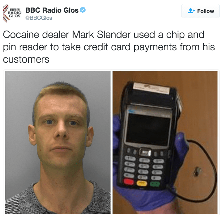 funny fail image drug dealer busted for using credit card machine