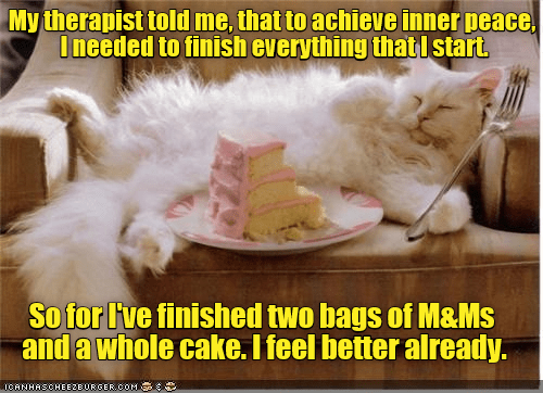 cat cake caption finish inner peace therapist start m&ms m&ms