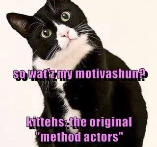 "so wat'z my motivashun? kittehs: the original ""method actors"""