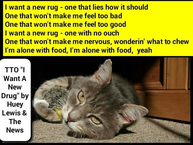"""Rug Please"" (TTO ""I Want A New Drug"" by Huey Lewis & The News) (recaption: http://tinyurl.com/gls6al5"