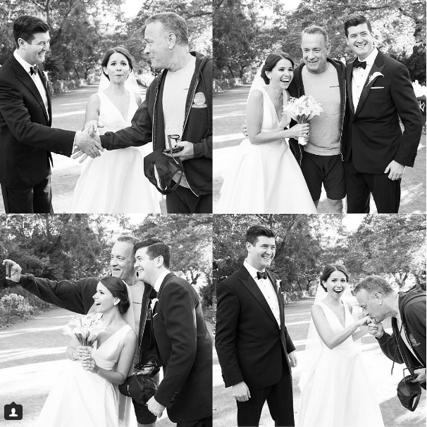 image tom hanks photobomb Tom Hanks Wandered up to a Married Couple in Central Park to Photobomb Their Wedding Photos