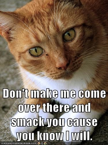 Don't make me come over there and smack you cause you know I will.