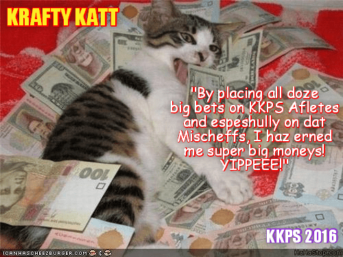 Krafty Katt scores BIG at teh Betting Houses wiff hims Rio LoLympic Bets!
