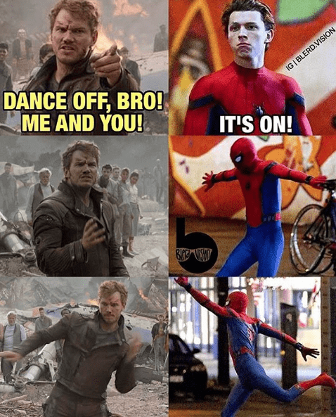 tom-holland-shares-picture-about-spider-man-and-starlord-dance-off