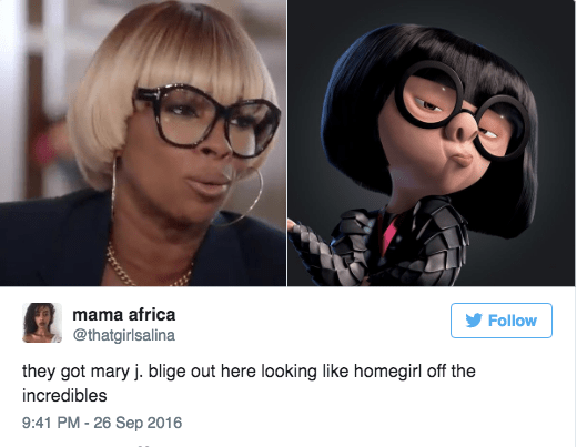 Mary J. Blige Hilary Clinton interview - Eyewear - mama africa Follow @thatgirlsalina they got mary j. blige out here looking like homegirl off the incredibles 9:41 PM - 26 Sep 2016
