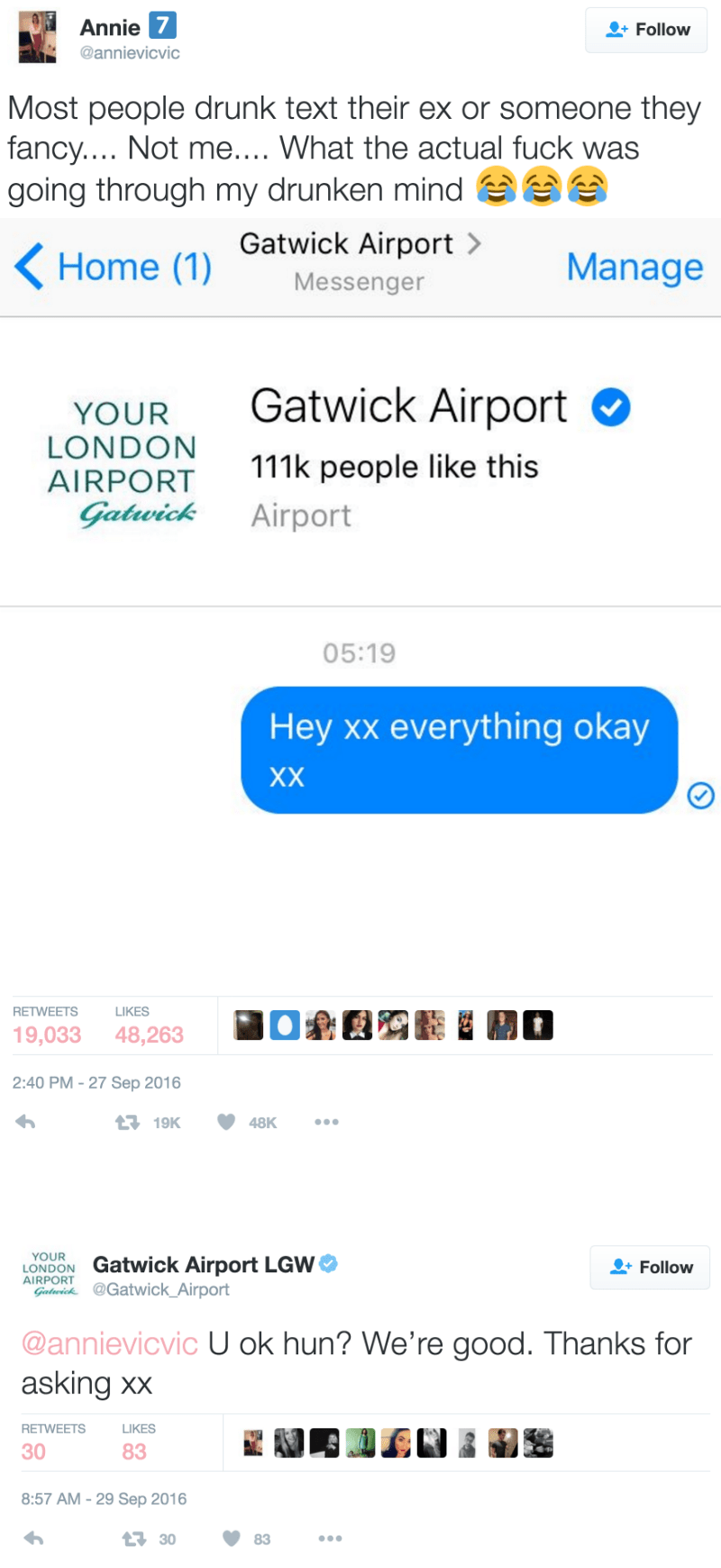 funny fail tweet image girl booty calls the airport with drunk text