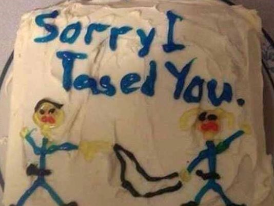 funny fail image news florida woman gets tased by cop and then given apology cake