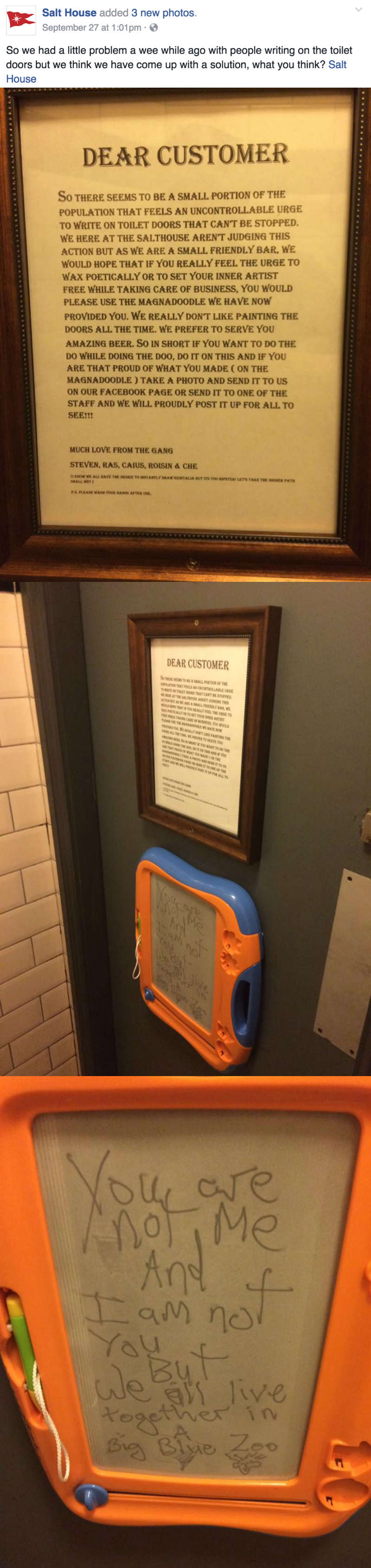 win image irish bar solves bathroom graffiti solution with child's toy