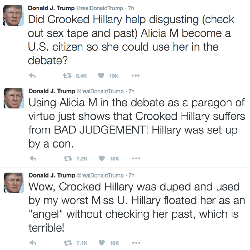 """Text - Donald J. Trump @realDonaldTrump 7h Did Crooked Hillary help disgusting (check out sex tape and past) Alicia M become a U.S. citizen so she could use her in the debate? 19K 8.4K Donald J. Trump @realDonald Trump 7h Using Alicia M in the debate as a paragon of virtue just shows that Crooked Hillary suffers from BAD JUDGEMENT! Hillary was set up by a con 17.2K 18K Donald J. Trump @realDonald Trump 7h Wow, Crooked Hillary was duped and used by my worst Miss U. Hillary floated her as an """"ange"""