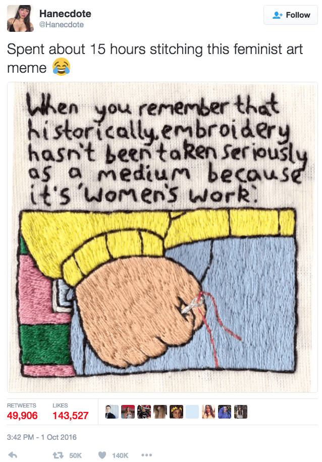 funny twitter image woman embroiders feminist Arthur meme