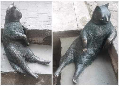 image memes cats Classic Lounging Cat Gets Immortalized With a Statue