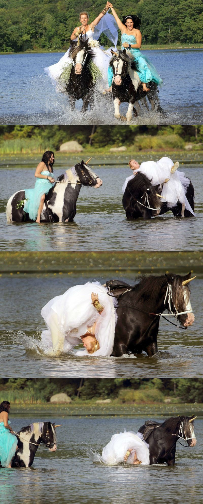 funny fail image bride falls off unicorn-horse in wedding photoshoot