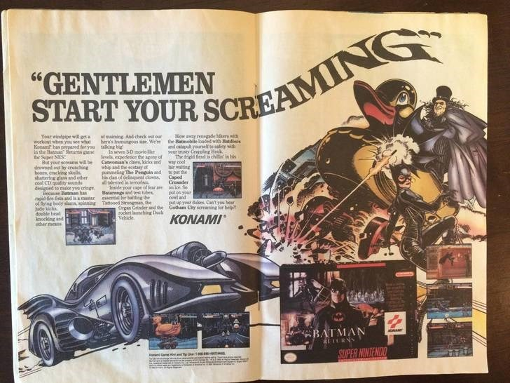 """Batman - """"GENTLEMEN START YOUR SCREAMN ow away renegade bkers with the Batmobile loaded with Batdises and catapalt yourself to sadety with your trusty Greppling Hook The gid fiend s chilt in his cool irwalting to put the Caped Crsader once S pot your cowt and put up your dakes Can't pou hear Gotham City screaming r help of maiming. And check ost our hero's hamungous sise. We're aling big In seven 3D movielke levels experence the agory of Cawoan's caws, kicks and whip and the ecstasy of punmeling"""