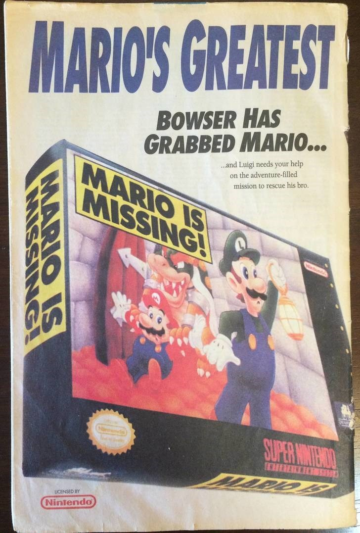 Text - MARIO'S GREATEST BOWSER HAS GRABBED MARIO... MARIO IS MISSING! .and Luigi needs your help on the adventure-filled mission to rescue his bro. ds) SUPER NINIEMAO LICENSED BY Nintendo MARIO IS MISSING!