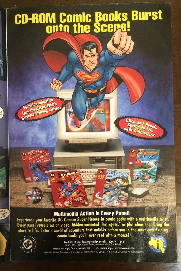 """Hero - CD-ROM Comic Books Burst onto the Scepe! Featuring animation from the classic 1960's Saturday Morning carloons Click and Panels Spring to Life with Animation! OPERRO SUPERMAN O BATMANY COMIC OOK Warks On Windows Macintosh ATS FIRE EAR. Multimedia Action in Every Panel! Experience your favorite DC Comics Super Heroes in comic books with a multimedia twist. Every panel reveals action video, hidden animated """"hot spots,"""" or plot clues that bring the story to life. Enter a world of adventure t"""