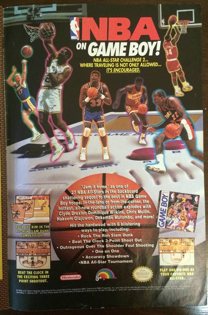 """Action figure - NBA GAME BOY! NBA ON 84 NBA ALL-STAR CHALLENGE 2... WHERE TRAVELING IS NOT ONLY ALLOWED... IT'S ENCOURAGED Hawk 22 """"Jam it home"""" as one of 27 NBA AIl Stars in the backboard shattering sequel to the best in NBA Game Boy hoops. In-the-lane or from the-corner, the hottest, all-new roundball action explodes with Clyde Drexler, Dominique Wilkins, Chris Mullin, Hakeem Olajuwon, Dekembe Mutombo, and more! Hit the hardwood with 6 blistering ways to play including: Rock The Rim Slam Dunk"""