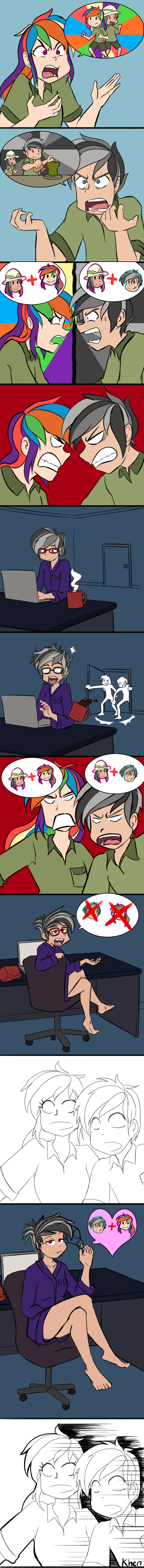 shipping,humanized,quibble pants,stranger than fan fiction,comic,daring do,rainbow dash