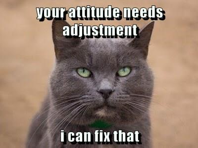 your attitude needs adjustment  i can fix that