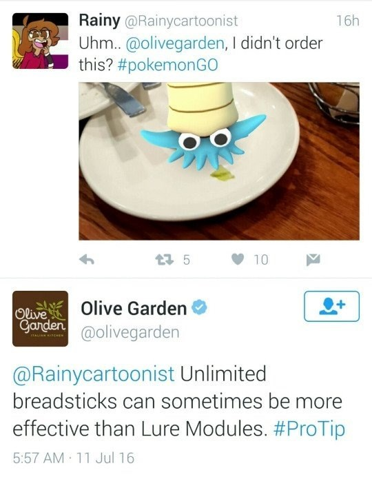 breadsticks,pokemon go,olive garden